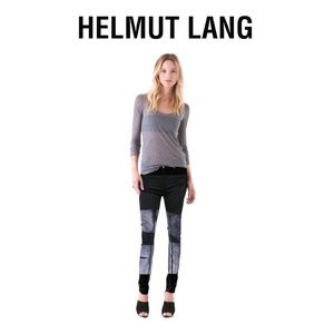 HELMUT LANG PAINTED BAR LOW RISE SKINNY JEANS 27